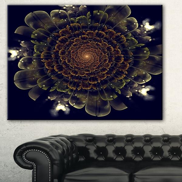 Orange Fractal Flower with Green' Digital Art Canvas Print
