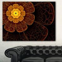 Symmetrical Orange Fractal Flower' Digital Art Floral Canvas Print