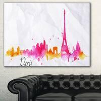 Paris Pink Silhouette' Cityscape Painting Canvas Print