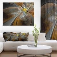Symmetrical Yellow Fractal Flower' Digital Art Canvas Print