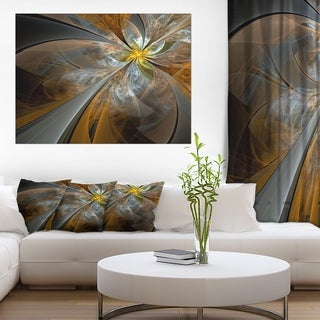 Symmetrical Yellow Fractal Flower' Digital Art Canvas Print