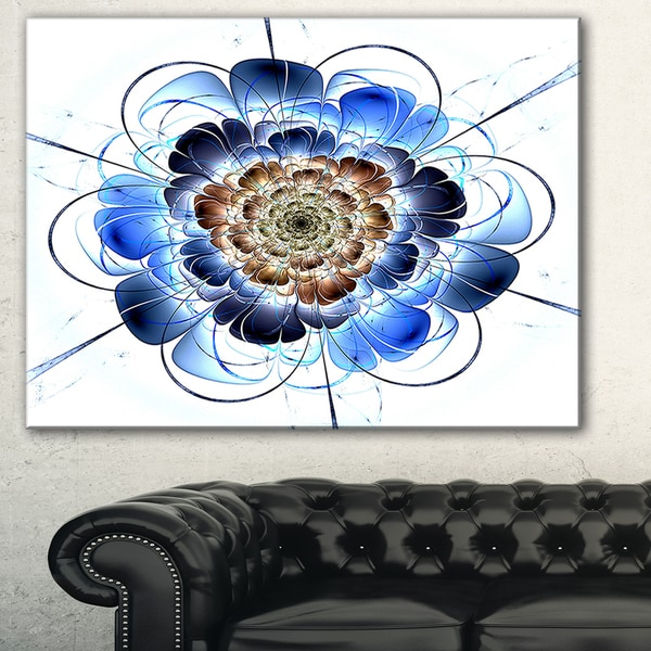 Dark Blue Fractal Flower' Digital Art Floral Canvas Print
