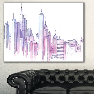 Purple City Skyline' Cityscape Painting Canvas Print