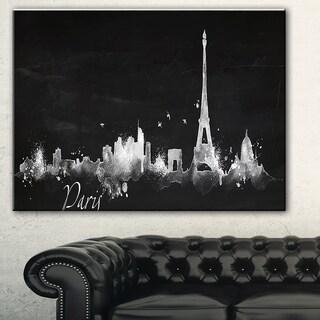 Paris Dark Silhouette' Cityscape Painting Canvas Print