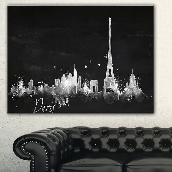 Shop Paris Dark Silhouette' Cityscape Painting Canvas Print - Black - Free Shipping On Orders ...