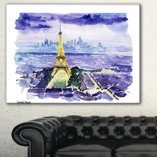 Eiffel Tower on Blue Background' Painting Canvas Art Print