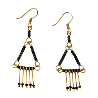 Antiqued Brass Pyramid Earrings (Kenya)