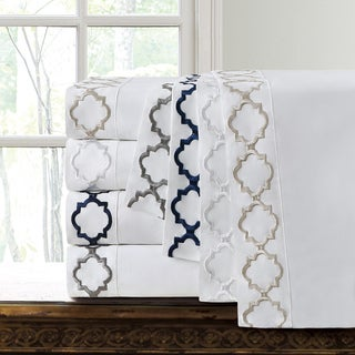 Echelon Home Hotel Collection Quatrefoil Embroidery Cotton Sateen Sheet Set
