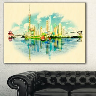 Shanghai Panoramic View' Cityscape Watercolor Canvas Print