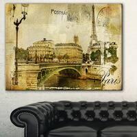 Vintage Paris' Digital Art Cityscape Canvas Print - GOLD