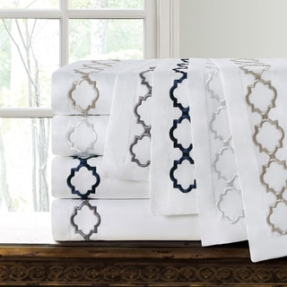 Echelon Home Hotel Collection Quatrefoil Embroidery Euro Shams (Set of Two)