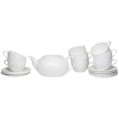 Red Vanilla Tea Server Set with Cup & Saucers