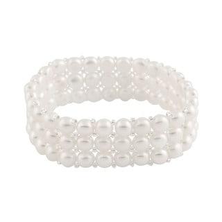 Sterling Silver 4-row Freshwater Pearl Elastic Bracelet (6-7mm)