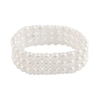 Sterling Silver 4-row Freshwater Pearl Elastic Bracelet (6-7mm) (Option: Black)