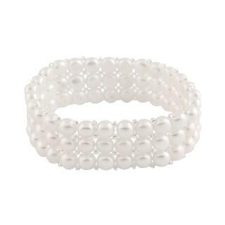 Link to Sterling Silver 4-row Freshwater Pearl Elastic Bracelet (6-7mm) Similar Items in Bracelets