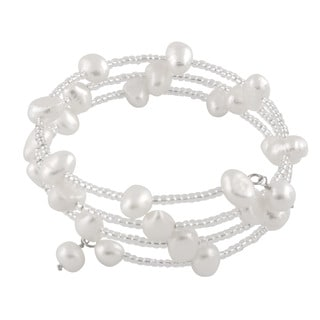Sterling Silver Triple Row Beaded Freshwater Pearl Cuff Bracelet (6-7mm)