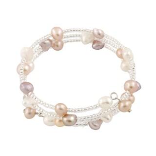 Sterling Silver Triple Row Beaded Freshwater Pearl Cuff Bracelet (6-7mm)