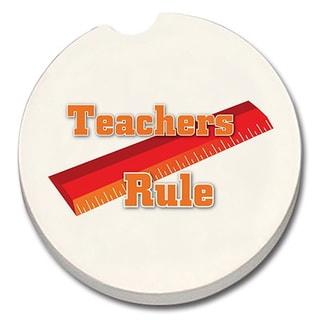 Counterart Absorbent Stone Car Coaster Teachers Rule (Set of 2)