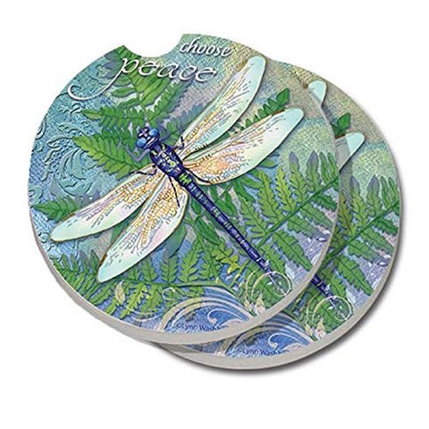 Counterart Absorbent Stone Car Coaster Dragonfly Inspiration (Set of 2)
