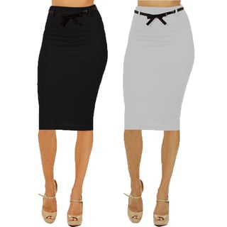 Women's High Waist Below Knee Black Pencil Skirts (Pack of 2)