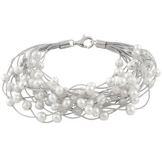 Sterling Silver Braided Freshwater Pearl Threaded Bracelet (6-7mm)