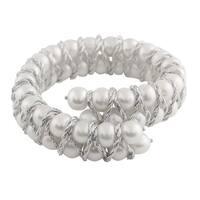 Sterling Silver Fancy Braided Freshwater Pearl Bracelet (7-8mm)