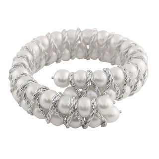 Sterling Silver Fancy Braided Freshwater Pearl Bracelet (7-8mm)