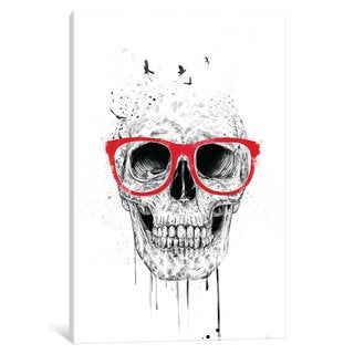 iCanvas 'Skull With Red Glasses' by Balazs Solti Canvas Print