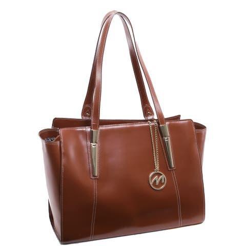 McKlein USA Aldora Brown Leather Fashion Tablet Tote Bag