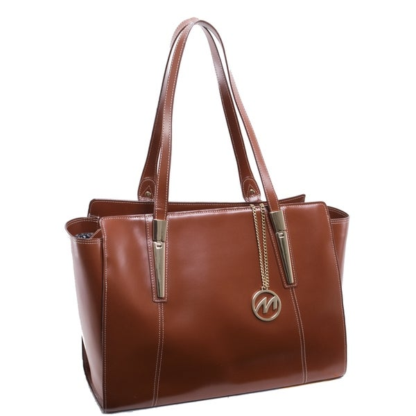 McKlein USA Aldora Brown Leather Fashion Tablet Tote Bag. Opens flyout.