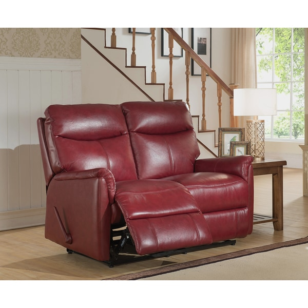 napa top grain leather layflat reclining loveseat with memory foam seating