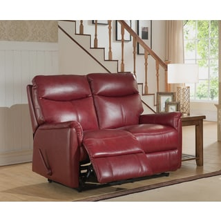 Napa Top Grain Leather Lay-Flat Reclining Loveseat with Memory Foam Seating
