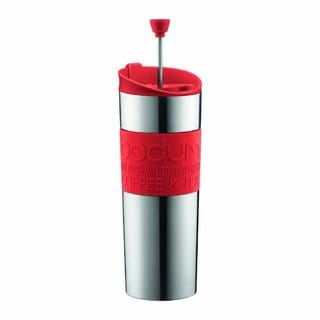 Bodum 11057-294BUS Insulated Stainless-Steel Red 15 Ounce Travel French Press Coffee and Tea Mug