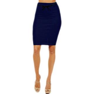 Women's High Waist Navy Blue Pencil Skirt