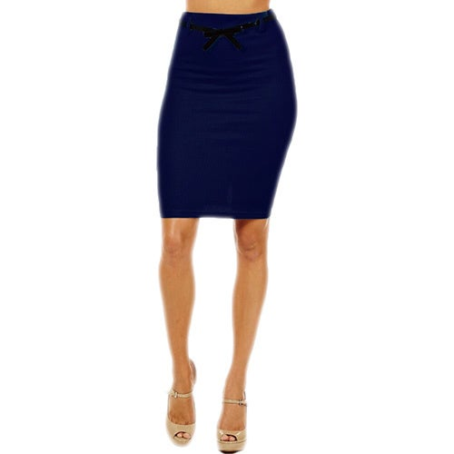 b68953ebeb Shop Women's High Waist Navy Blue Pencil Skirt - On Sale - Ships To ...