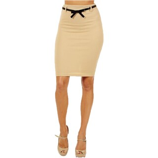 Women's High Waist Sand Color Pencil Skirt