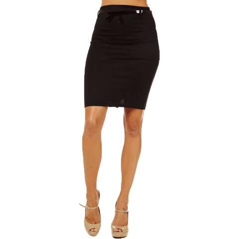 Women's High Waist Black Pencil Skirt