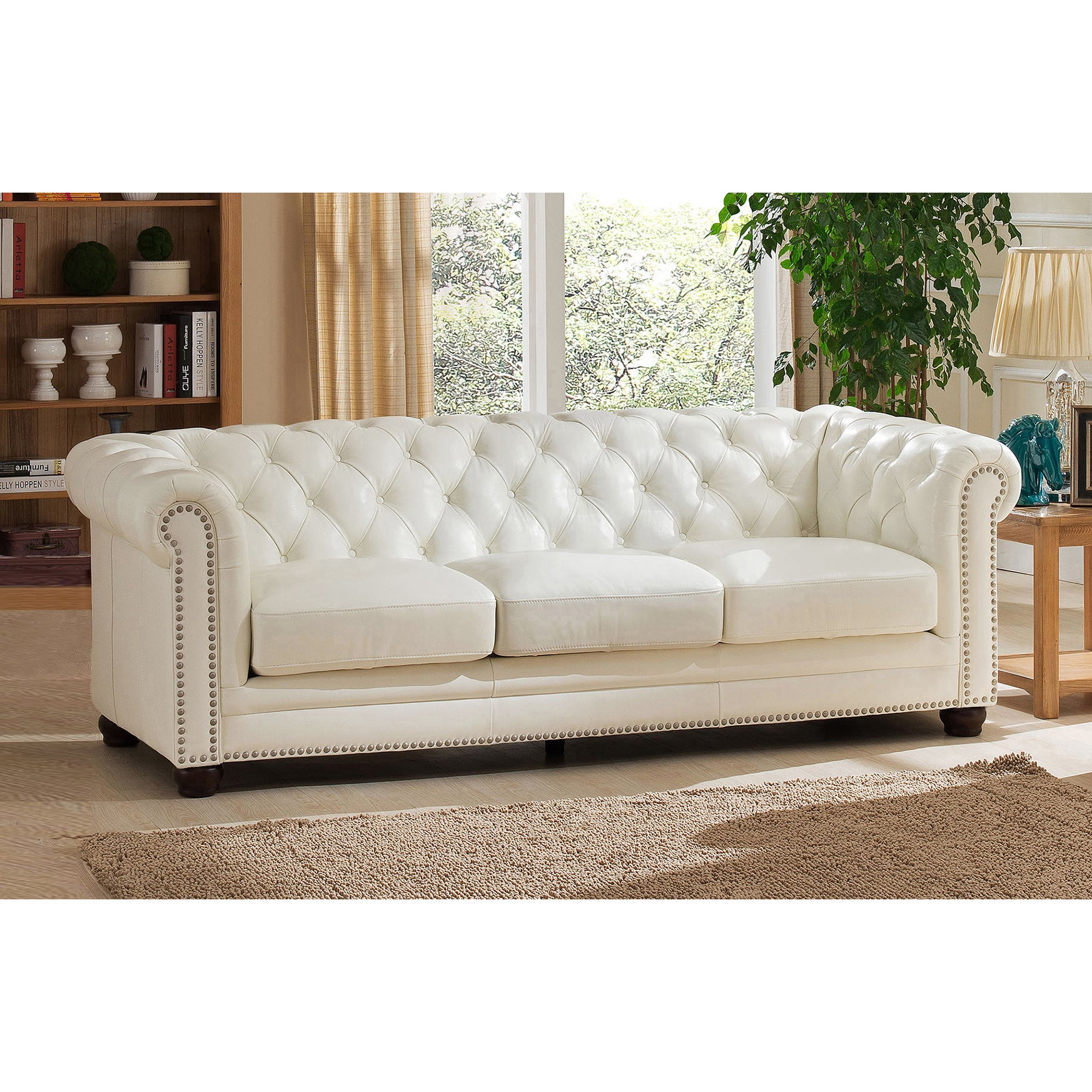 Nashville White Genuine Leather Chesterfield Sofa with Feather Down Seating (Nashville-S)
