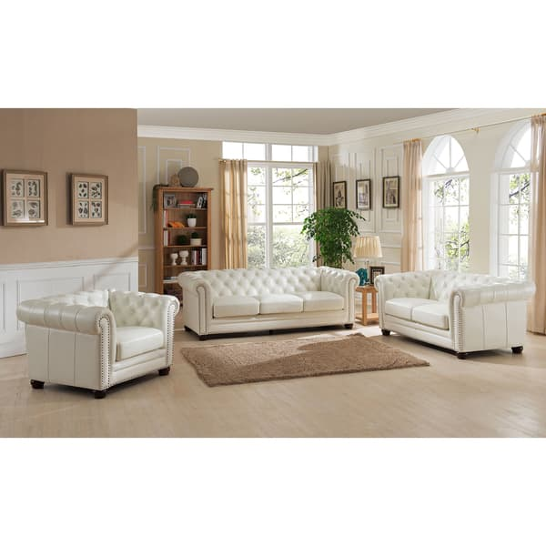 Shop Nashville White Genuine Leather Chesterfield Sofa with ...