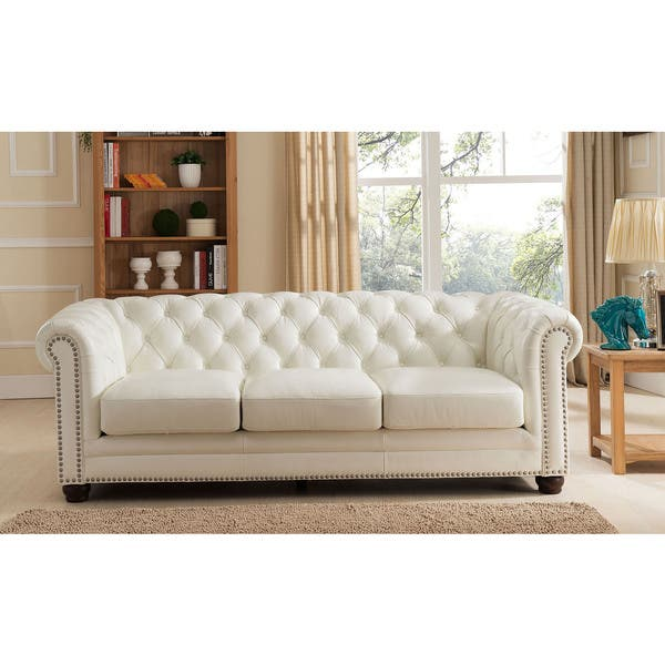White Genuine Leather Chesterfield Sofa