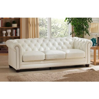 Nashville White Genuine Leather Chesterfield Sofa with Feather Down Seating