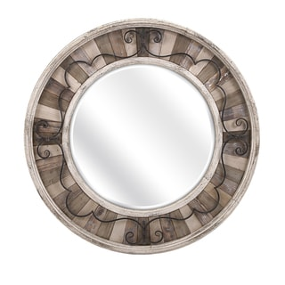 "Sylvia Metal and Wood Mirror (41.25""d x 2.25"")"