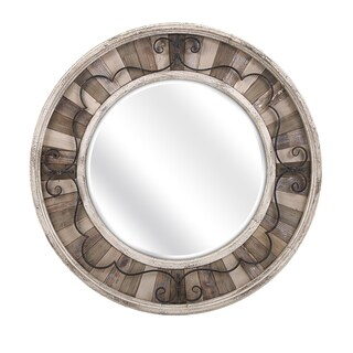 "Sylvia Metal and Wood Mirror (41.25""d x 2.25"")"