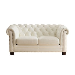 Nashville White Genuine Leather Chesterfield Loveseat with Feather Down Seating