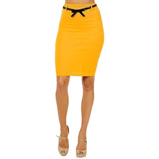 Women's High Waist Yellow Pencil Skirt