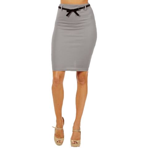 Women's High Waist Light Grey Pencil Skirt