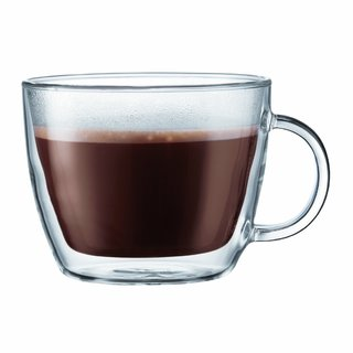 Bodum 10608-10 Bistro Double-Wall Insulated Glass Café Latte Mug (Set of 2)