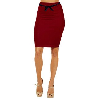 Women's High Waist Burgundy Pencil Skirt