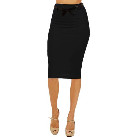 Women's High Waist Below Knee Black Pencil Skirt