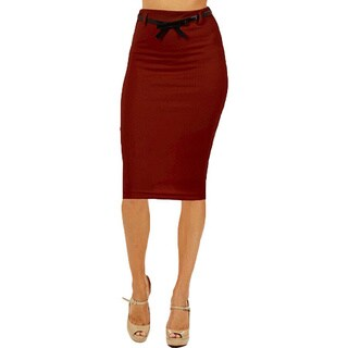 Women's High Waist Below Knee Burgundy Pencil Skirt
